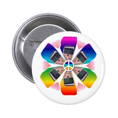 Autoharp Flower Rainbow Round Button