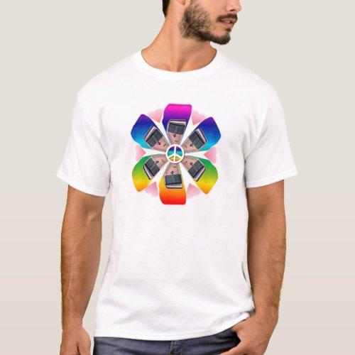 Autoharp Peace Love Rainbow-Hued Petals Flower Basic T-Shirt