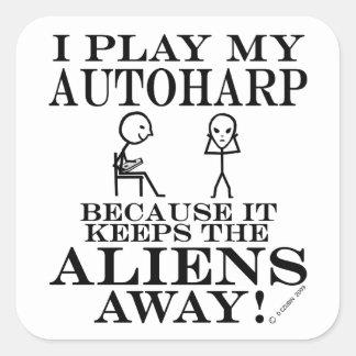 Autoharp Keeps Aliens Away Square Sticker