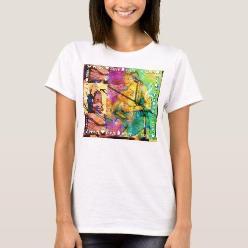 Autoharp Music Peace Love Harp and Soul Basic T-Shirt