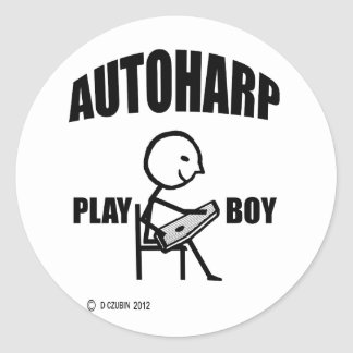 Autoharp Play Boy Classic Round Sticker