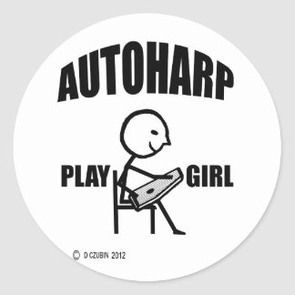 Autoharp Play Girl Classic Round Sticker