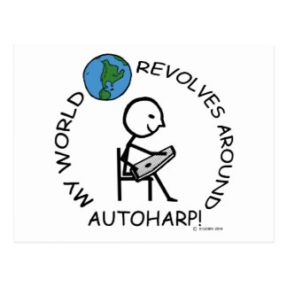 Autoharp - World Revolves Around Postcard