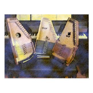 Autoharps Piano and Guitar Postcard