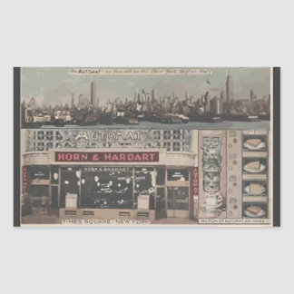 Automat Horn & Hardart Time Square New York, Vinta Rectangular Sticker