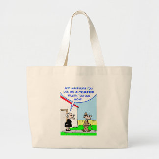 automated teller large tote bag