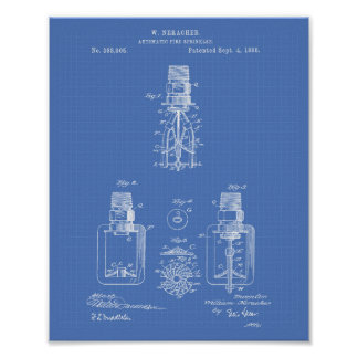 Automatic Fire Sprinkler 1888 Patent - Blueprint Poster