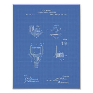 Automatic Fire Sprinkler 1891 Patent - Blueprint Poster