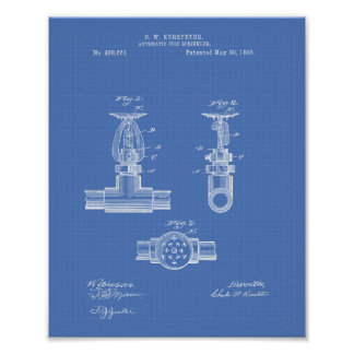 Automatic Fire Sprinkler 1893 Patent - Blueprint Poster