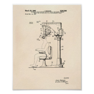 Automatic Hair Cutting 1966 Patent Art Old Peper Poster