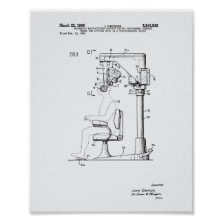 Automatic Hair Cutting 1966 Patent Art White Paper Poster