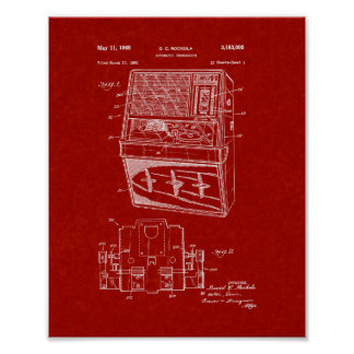 Automatic Phonograph Patent - Burgundy Red Poster