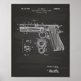 Automatic Pistols 1949 Patent Art Chalkboard Poster