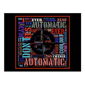 Automatic song lyrics text art #3 postcard