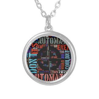 Automatic song lyrics text art #3 round pendant necklace