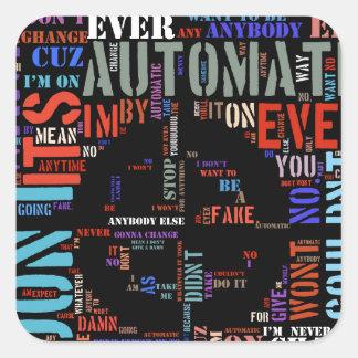 Automatic song lyrics text art #3 square sticker