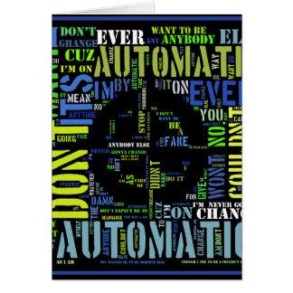 Automatic song lyrics text art design#4 card