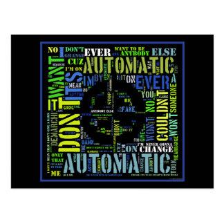 Automatic song lyrics text art design#4 postcard