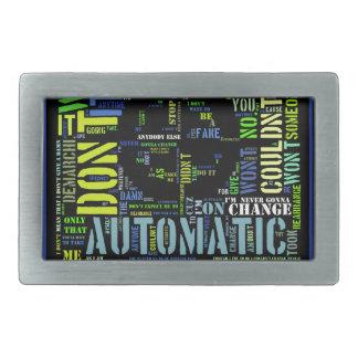 Automatic song lyrics text art design#4 rectangular belt buckle
