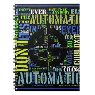 Automatic song lyrics text art design#4 spiral notebook