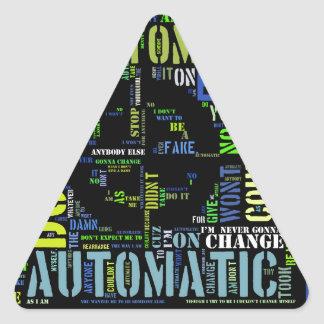 Automatic song lyrics text art design#4 triangle sticker