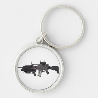 Automatic weapon G36 Silver-Colored Round Keychain