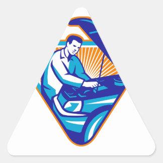 Automobile Mechanic Repair Car Retro Triangle Sticker