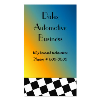 Automotive Black and White Checkered Design Business Card Template