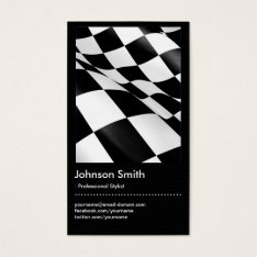 Automotive - Black White Plaid Checkered Flag Business Card at Zazzle