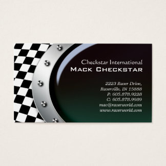 Automotive Business Card Racing Checkers Bolts