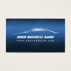 Automotive Cool Blue Car Outline Business Card at Zazzle