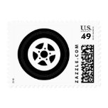 Automotive postage stamps with car wheel tire rim