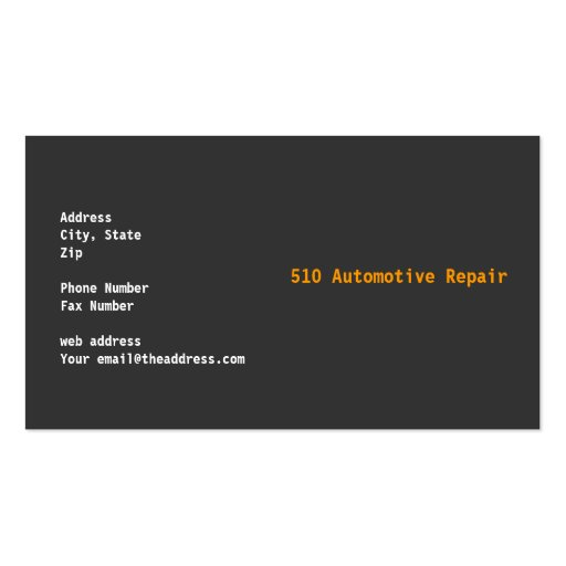 Automotive Repair Business Card Templates (back side)