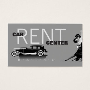 Car rent business cards templates zazzle automotive retro car rent center business card reheart Images