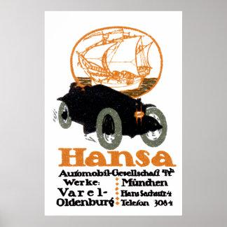 Automóvil 1914 de Hansa Póster