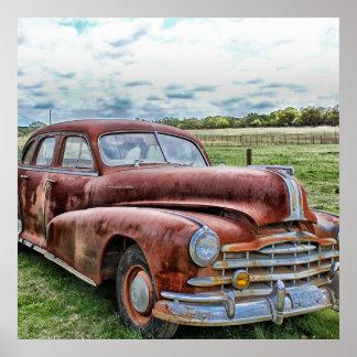 Automóvil clásico viejo oxidado del vintage del co impresiones