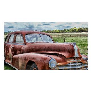 Automóvil clásico viejo oxidado del vintage del co tarjetas de visita