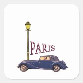 automóvil de los años 20 - París Pegatina Cuadrada