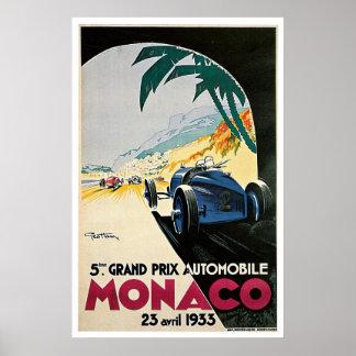 Automóvil de Mónaco Grand Prix Poster