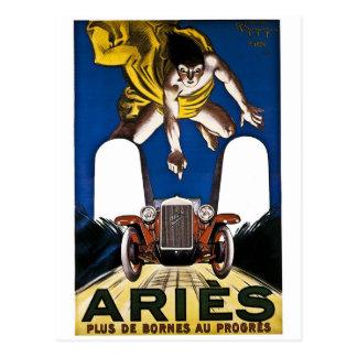 Automóvil del aries - anuncio del francés del tarjetas postales