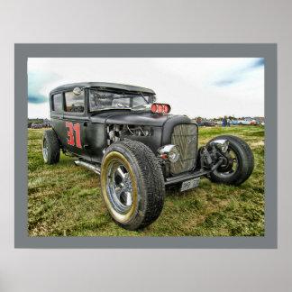Automóvil del coche de carreras del vintage póster
