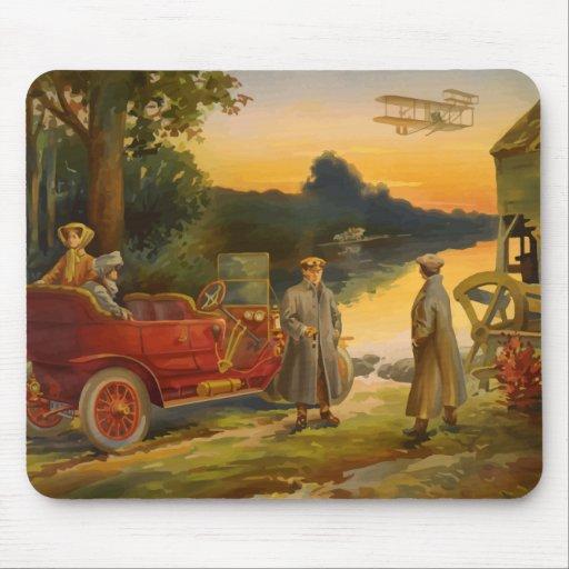 Automóvil del vintage, acuarela plana del molino d alfombrillas de raton