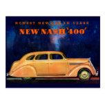 Automóvil del vintage del ~ de Nash 400/anuncio de Postal