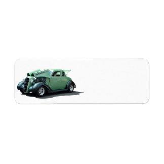Automóvil del vintage etiqueta de remitente
