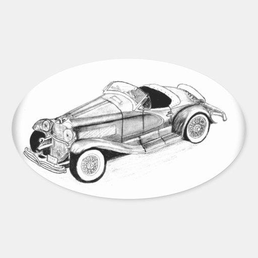 Automóvil descubierto 1935 del SSJ de Duesenberg Pegatina Ovalada
