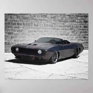 Automóvil descubierto 1969 de Camaro Póster