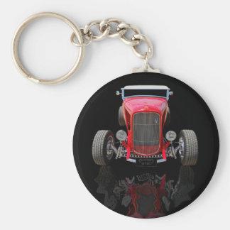Automóvil descubierto de 1932 rojos llavero redondo tipo pin