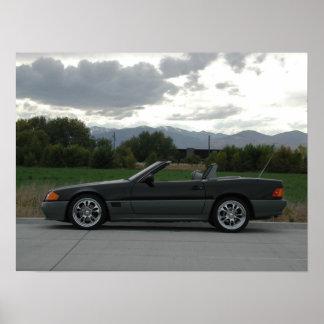 Automóvil descubierto de Mercedes-Benz 500 SL Póster