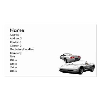 Automóvil descubierto de plata tarjetas de visita