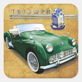 Automóvil descubierto del vintage de Triumph TR3 Pegatina Cuadrada